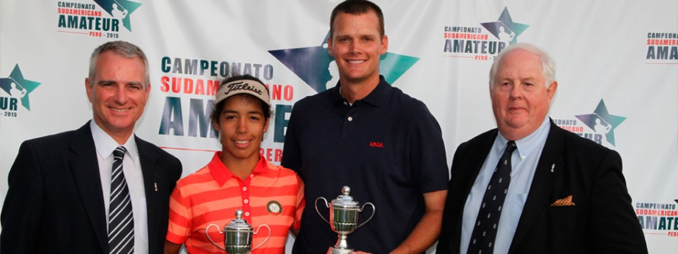 Scott Harvey and Sofía García, winners of the South American Amateur Golf Championship
