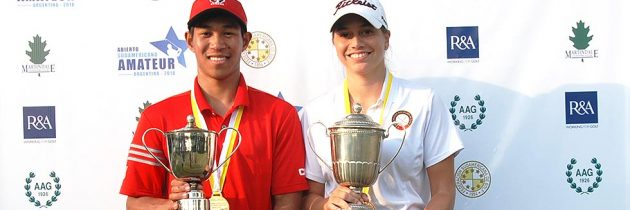 Chris Crisologo and Milagros Chavez, the winners of the South American Amateur Open 2018